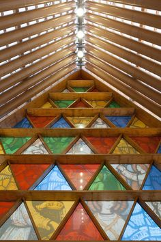 Shigeruban Architects design a temporary cardboard cathedral after the collapse of the cathedral in Christchurch, New Zealand