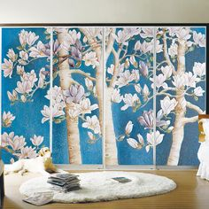 yazi Custom Size PVC Self-adhesive PVC Wardrobe Sliding Door Sticker Sliding Closet Doors Paper Flower Tree Wallpaper Mural