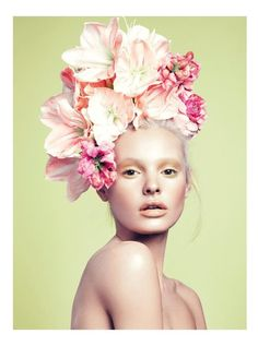 It's easy to embrace the Spring season with these feminine beauty looks with floral headpieces. Paige Reifler models for photographer Stockton Johnson in Elle Vietnam. Editorial Hair, Beauty Editorial, Editorial Fashion, Vogue Editorial, Marie Antoinette, Headpieces, Fascinators, Beauty Photography, Fashion Photography