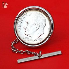 US 1959 Roosevelt Dime 90% Silver 10 Cent Gem BU Uncirculated Coin Silver Plated Tie Tac Tack Pin NEW - Groom fashion accessories (*Amazon Partner-Link)
