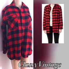 VINTAGE Buffalo plaid wool shirt jacket Wool red and black buffalo plaid shirt. Button front , two front pockets and cuffs. Size medium to large. Bust 44 and length 27 inches . montgomery ward  Tops