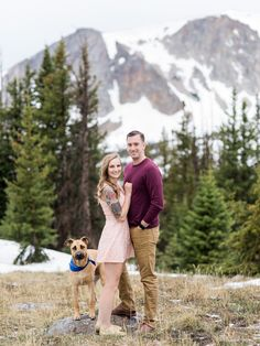 Engagement photos with dog. Poses for you photo session that includes your dog! Medicine Bow, WY Mountain Top Engagement Photos | Wyoming Based Wedding Photographer | Engagement Photos With Dog