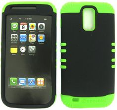 Buy 2 IN 1 Heavy Duty Hybrid Cover Case for Tmobile Hercules Samsung Galaxy S II T989 -Lime Green Silicone / Rubberized Snap On, Black Hard Shell Protector Cover NEW for 15.99 USD | Reusell