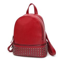 Cheap student backpack, Buy Quality backpack teenage directly from China women backpack Suppliers: Women Bag Preppy Backpack Leather Student Zipper Bags Women backpack Casual Backpacks Teenagers Mochila Rivet Student Backpacks Preppy Backpack, Small Backpack, Fashion Backpack, Backpack Purse, Faux Leather Backpack, Pu Leather, Vintage Leather, Leather Fashion, Purses