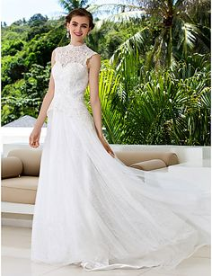 Lanting Bride A-line Petite   Plus Sizes Wedding Dress-Court Train High  Neck Lace   Satin 71c63f3f71b29