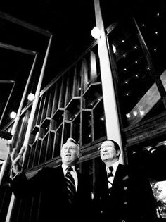 Irving Waugh, left, president of WSM, and Jack Stapp checks out the new 4,400-seat Opry House March 12, 1974 which will greet President Richard Nixon for the Grand opening March 16th.