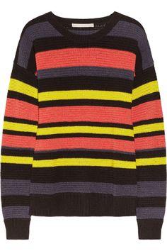 Jason Wu|Striped crochet-knit cotton-blend sweater|NET-A-PORTER.COM