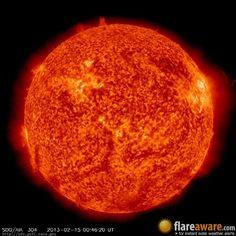 The hourly sun (at 12:46 am  UTC on 15 February 2013)