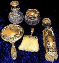Antique Silver Vanity Set