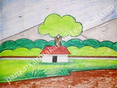 Easy scenery painting with oil pastel by Pankaj karmakar Easy Painting For Kids, Simple Oil Painting, Children Painting, Scenery Paintings, Easy Paintings, Art Drawings For Kids, Pencil Drawings, Art Lessons, Pastel