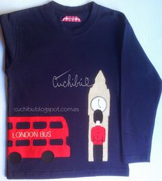 #Camisetas #London de manga larga decoradas con aplicaciones de tela bordadas a mano #handappliqué #London #Tshirts