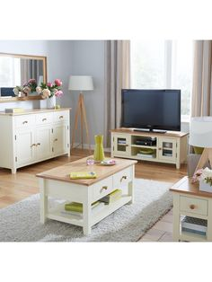 London 2 Drawer Storage Coffee Table In Painted Cream And Oak It May Take  Its