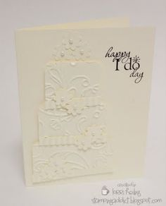 Wedding cake card using some embossing and punches - stunning result!