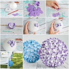 bastelideen frühling, ball aus styropor mit lila blumen aus papier Easy Flower Crafts That Anyone C Paper Flowers Diy, Handmade Flowers, Felt Flowers, Flower Crafts, Diy Paper, Fabric Flowers, Paper Crafting, Paper Flower Ball, Flower Diy