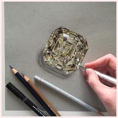 A TW 14ct Fancy yellow diamond ❤️ Illustration by @phoebeatkey