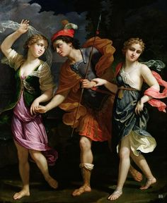 Theseus with Ariadne and Phaedra the daughters of King Minos. 1702. Benedetto Gennari II. Italian. 1635-1715. oil on canvas.