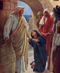 The Woman of Canaan by Harold Copping - Jesus Christ Pictures Of Jesus Christ, Bible Pictures, Bible Illustrations, Christian Pictures, Jesus Art, Biblical Art, Bible Stories, Bible Art, Christian Art
