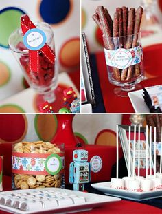 Robot party.  This blogger is offering free robot party printables.