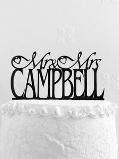 Mr and Mrs Campbell Wedding Cake Topper Personalized with