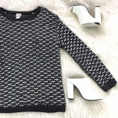 """Comfy Knitted Sweater Super comfy. Has a slight metallic sheen. Size 2 but very oversized. Bust (underarm to underarm): 18"""" Length: 25"""" Good used condition. Some wear and loose strings. Make me an offer! H&M Sweaters Crew & Scoop Necks"""