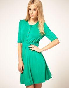 ASOS Tea Dress With Gold Buttons