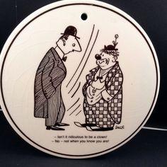 Storm P Cartoon Humor By Knabstrup Ridiculous To Be Clown Danish Pottery Plaque  #DanishArtDecoRound