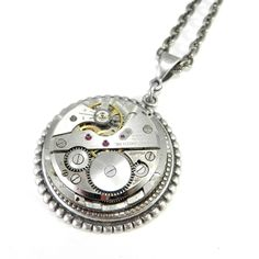 Steampunk Necklace - Mechanical Watch Pendant - Silver Art Deco by Compass Rose Design www.compassrosedesignjewelry.com