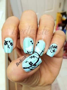 black & white silhouette 'love birds in a tree' nails on baby blue base - floral nails Get Nails, Love Nails, How To Do Nails, Fabulous Nails, Gorgeous Nails, Pretty Nails, Uñas Fashion, Nail Photos, New Nail Art