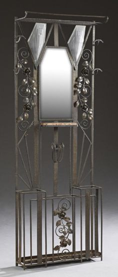 Lot: Unusual French Art Deco Wrought Iron Hall Stand, c., Lot Number: 1318, Starting Bid: $275, Auctioneer: Crescent City Auction Gallery, Auction: Major Spring Estates Auction: Day 2 of 2 , Date: March 12th, 2017 EDT