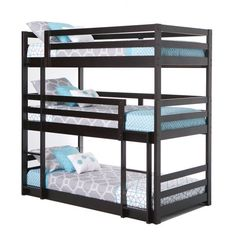 Romantic Bedroom Decor Ideas to Make Your Home More Stylish on a Budget - The Trending House Metal Bunk Beds, Bunk Beds With Stairs, Twin Bunk Beds, Tripple Bunk Bed, Triple Twin Bunk Bed, Triple Deck Bed, Steel Bed Design, Bunk Beds For Girls Room, Bed Rooms