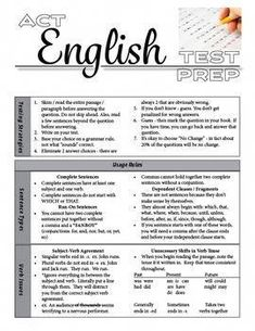 ACT English Test Prep Grammar Usage and Rhetoric Act English Tips, English Test, English Grammar, English Lessons, Sat Test Prep, Act Prep, Act Review, Act Study, College Test