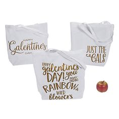 Calling all the single ladies! Celebrate Valentine's Day your own way with all your besties — and call it Galentine's Day! Fill these cool tote . Friends Valentines Day, All Valentine Day, Valentine Gifts, Galentines Day Ideas, Happy Galentines Day, Goodie Bags, Gift Bags, Heart Shaped Pizza