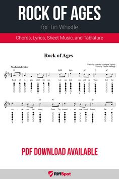 Free tin whistle sheet music for Rock of Ages with chord symbols, lyrics, and tablature. Free Sheet Music, Sheet Music Notes, Bagpipe Music, Tin Whistle, Rock Of Ages, Praise Songs, Kids Songs, Christmas Carol, Growing Up