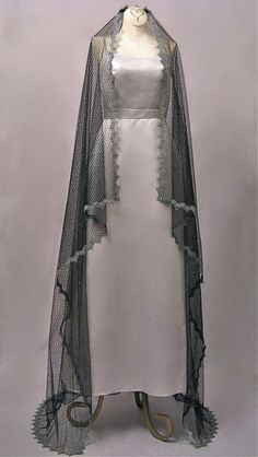 Black Waltz Length Wedding Veil With Silver Lace by Honeycombveils