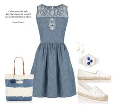 """""""Embroidered Denim Dress"""" by freida-adams ❤ liked on Polyvore featuring Oasis, L.K.Bennett, Seafolly, Storm and Lipsy"""