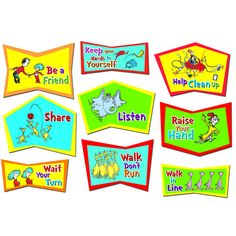 """Dr. Seuss?ʆ¢ Dr. Seuss?ʆ¢ Classroom Rules. Let Dr Seuss?ʆ¢ """"rule the school"""" with 9 signs that encourage manners and respect. Each sign is 15"""" wide by 8"""" to 12"""" high."""