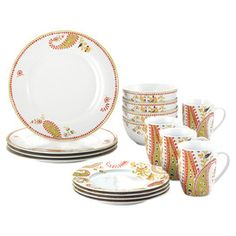 Love mixing and matching the Rachael Ray dinner ware with the solid yellow, green, red orange, brown and blue solids! 16 Piece Paisley Dinnerware Set for $59.99 or buy individually if you are eclectic like me