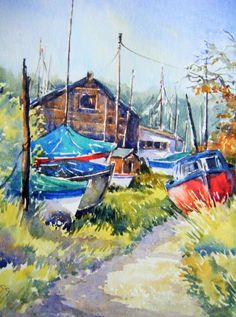 Slaughden boat yard , Aldeburgh by carol goodchild - Win vouchers worth from Winsor & Newton in our Calendar Challenge - February 2020 Competition, Palette, Challenges, Boat, Colour, Gallery, Painting, Color