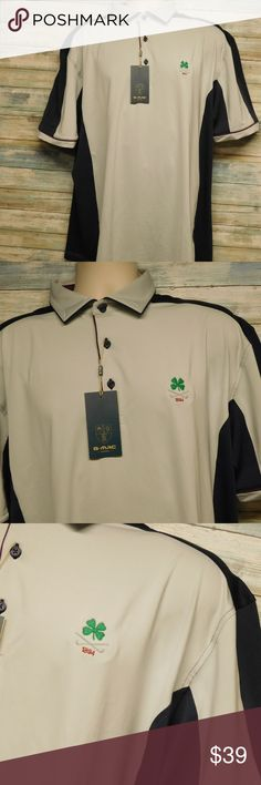 Men's G Mac Polo Golf Shirt Green Clover XL Men's G Mac Polo Golf Shirt   light gray with Blue 95% polyester and 5% spandex new with tags G-Mac Shirts Polos
