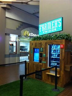 Farmers Fridge vending machine for salads in front of a McD's at a food court in Chicago