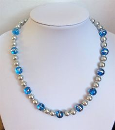 """Silver glass pearl and blue and silver glass bead necklace. 18"""" Gift or treat."""