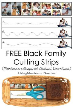 These free Montessori-inspired Black family cutting strips are an instant download with a variety of skill levels; scissor cutting practice for classroom or home! You'll get cutting strips with 7 different Black family photographs and a second page with another Black family photograph and more advanced cutting strips. They're perfect for a Black history theme - Living Montessori Now Cutting Activities, Fine Motor Activities For Kids, Math Activities, Toddler Activities, Sand Writing, Kids Writing, Alphabet Phonics, Montessori Practical Life, Family Theme