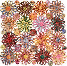 Deborah Rhodes Raffia Flower Placemat Barneys Square Placemats Pink