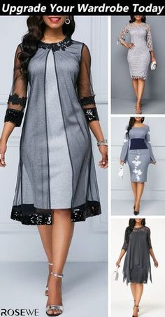 simple and stylish style is a classic that will never change. Lace overlay i The simple and stylish style is a classic that will never change. Lace overlay i. -The simple and stylish style is a classic that will never change. Lace overlay i. Simple Dresses, Elegant Dresses, Beautiful Dresses, Grey Dresses, Latest African Fashion Dresses, Women's Fashion Dresses, Mode Outfits, Dress Outfits, Classy Dress