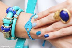 Colours & Beauty, Cruciani bracelets  and multicolor manicure