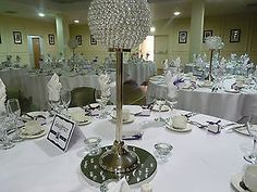 CRYSTAL GLOBE CANDELABRA INCL BASE for HIRE LONDON