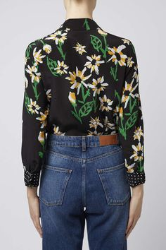 Daisy print silk shirt with polka print contrast patch pocket, neck & cuff trim. Made in Britain, by Boutique. #Topshop