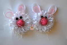 Set of Two Bunny Rabbit Puff Bows Easter Spring by ShopClaireBows, $12.50