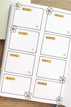 If you want to add a super cute floral theme to your bullet journal spreads this month, check out these daisy monthly covers, habit trackers, weekly spreads and more for new ideas / inspiration! Bullet Journal School, Bullet Journal Paper, Creating A Bullet Journal, Bullet Journal Tracker, Bullet Journal Lettering Ideas, Bullet Journal Notebook, Bullet Journal Aesthetic, Bullet Journal Inspo, Bullet Journal Spread