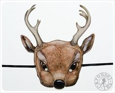 DEER Mask by Carousel Ink Victorian Paper MASK door Carouselink